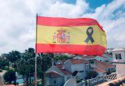 Flag Bandera España Crespón Negro
